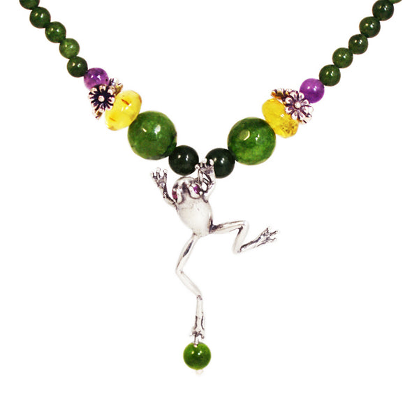 Jumping Frog Necklace & Earrings: Jade, Amber & Silver