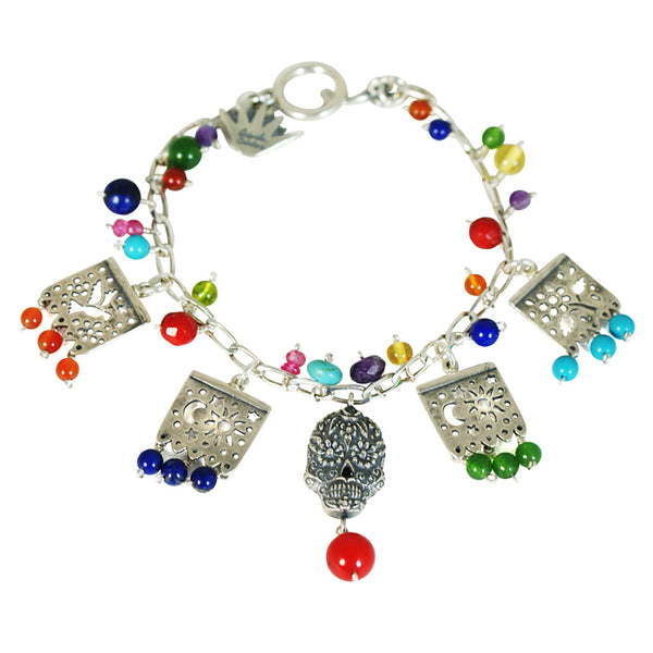 Silver Skull & Papel Picado Bracelet: Silver, Turquoise, Amber
