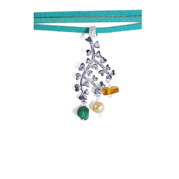 Branch of Love Pendant Blue: Silver, Amber, Turquoise & Pearl