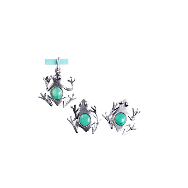 Silver Frog Pendant & Earrings: Silver& Turquoise