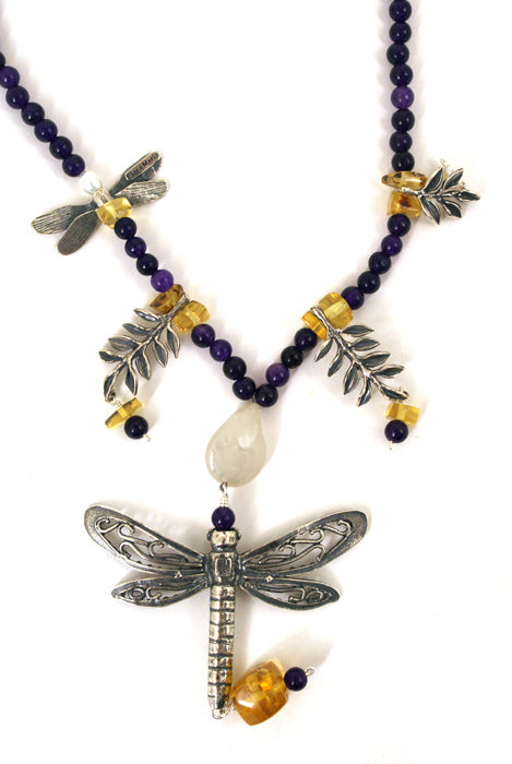 Dragonflies & Leaves Necklace: Amethyst  Amber & Pearls