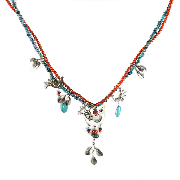 Spring Birds Necklace: Turquoise, Coral & Silver