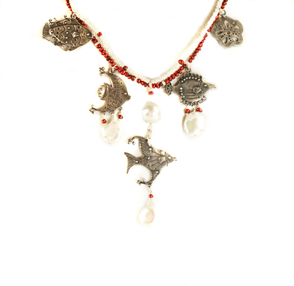 Ocean Necklace: Silver  Red & White Pearls
