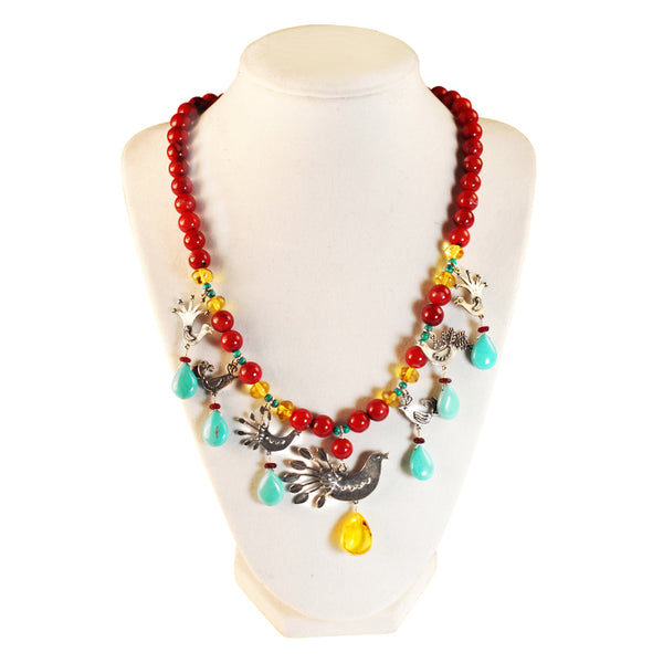 Seven Birds Necklace: Turquoise, Coral & Silver