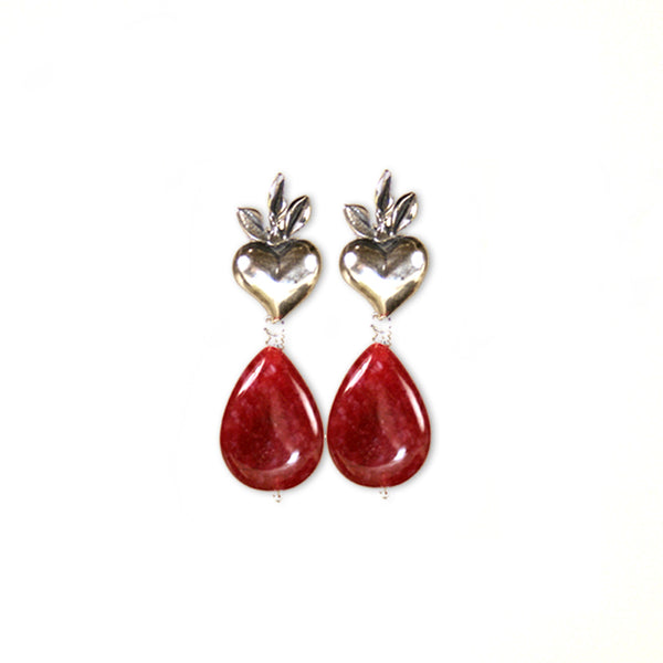 Interlaced Hearts Necklace Earings Set: Red Jade