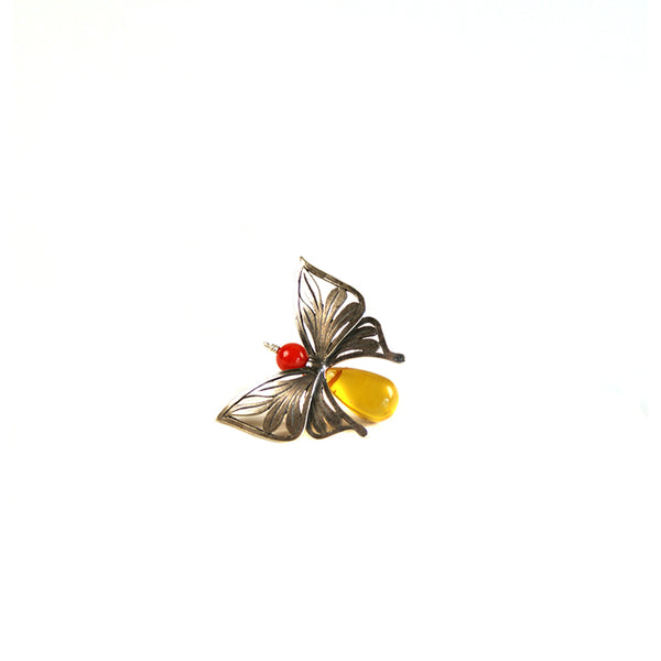 Butterfly Earrings: Amber & Silver