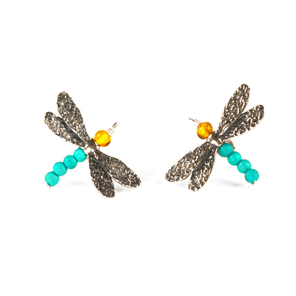 Dragonfly Earrings: Amber Turquoise & Silver