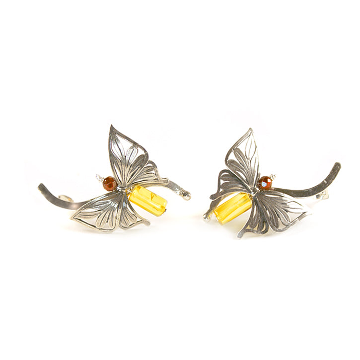 Monarch Butterfly Earrings: Amber & Silver