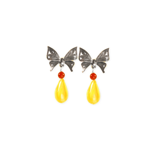 Butterfly Earrings: Amber Coral & Silver