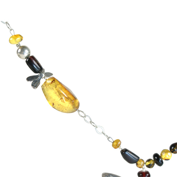 Dragonflies Long Necklace: Yellow and Red Amber