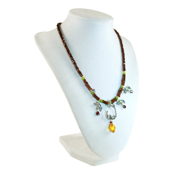 Bird on Branch Necklace: Amber, Tourmaline & Silver