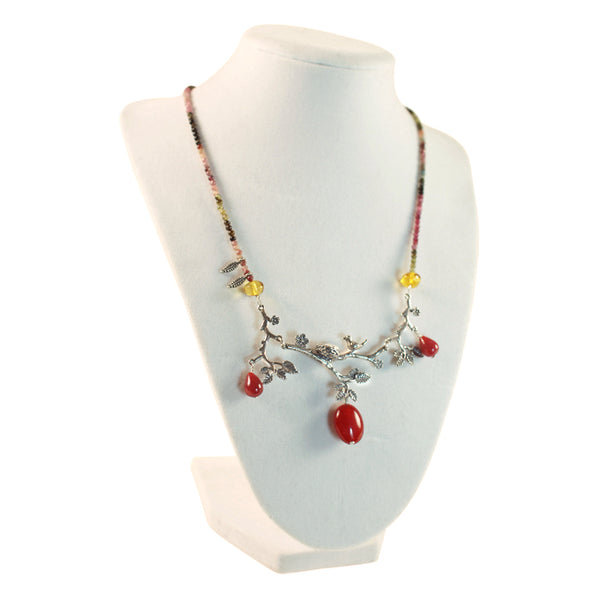 Bird With Nest Necklace: Amber, Red Jade  & Silver