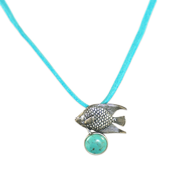 Fish Pendant: Turquoise & Silver