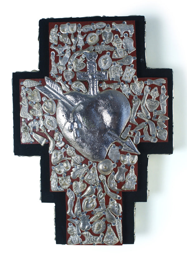 Double  Wood Cross with Milagros Heart