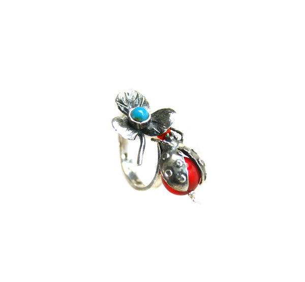 Ladybug Ring: Red Coral Turquoise & Silver