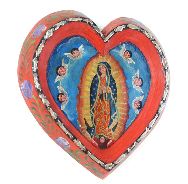 Wood Heart with Our Lady of Guadalupe