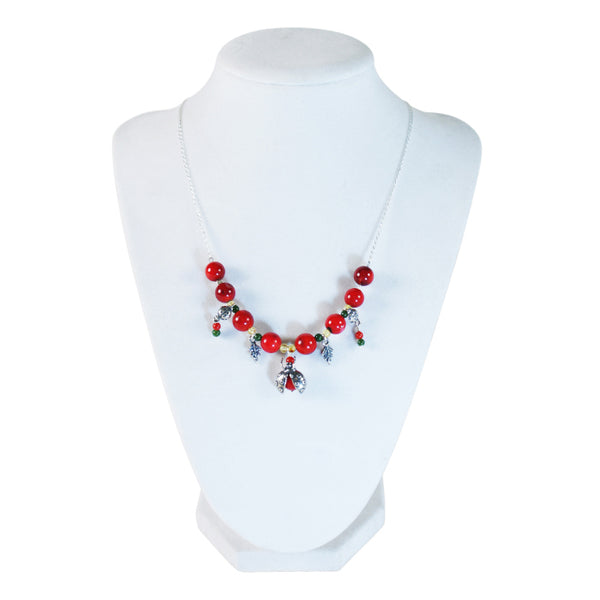 Ladybug Chain Necklace: Amber, Jade & Silver