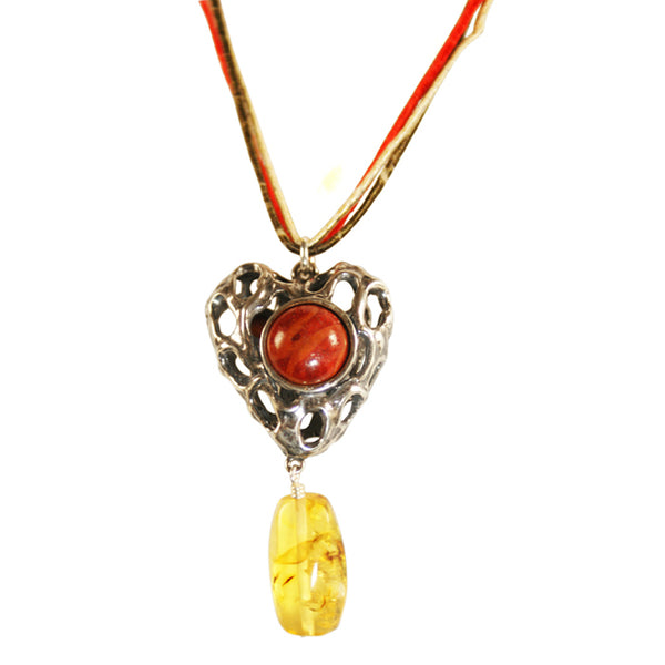 Heart Pendant Reversible: Silver  Turquoise Amber