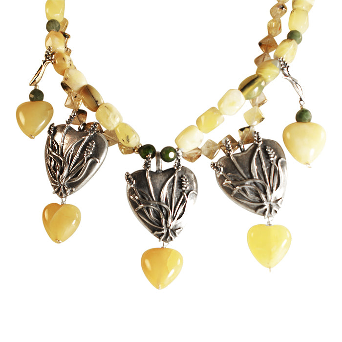 Nature's Wheat Hearts Necklace: Silver, Jasper, Citrine and Agate