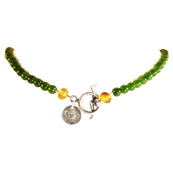Bicycle & Leafs Necklace: Silver, Amber & Jade