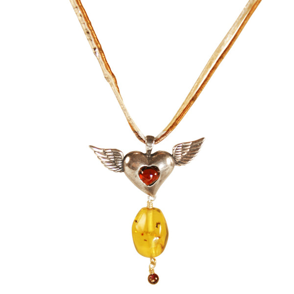 Winged Heart Pendant: Red Amber & Silver
