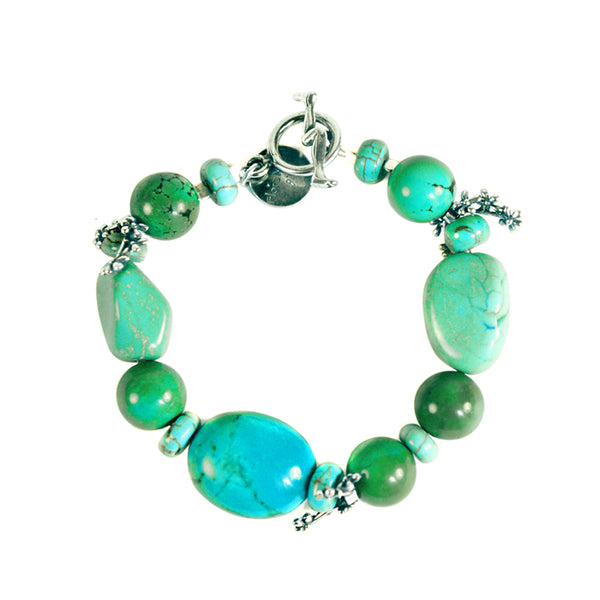 Turquoise Silver Flowers Bracelet: Turquoise  & Silver