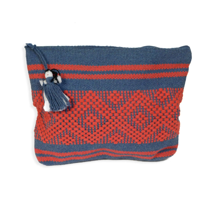 Handwoven Bag Jalieza  Bluegray-Cherry