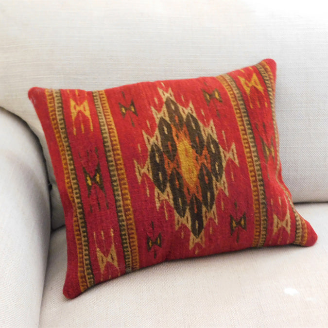 Wool Cushion: Red Teotitlan