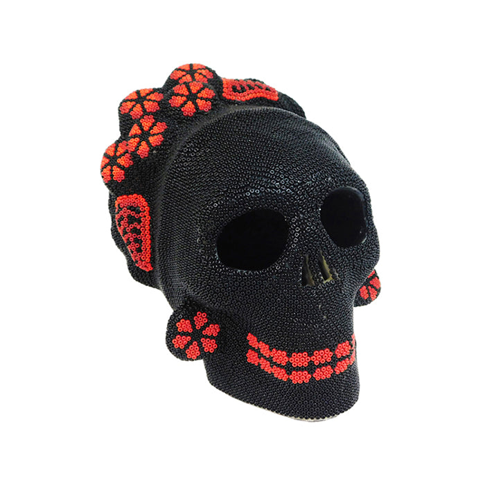 Huichol Frida Skull with Red Flowers