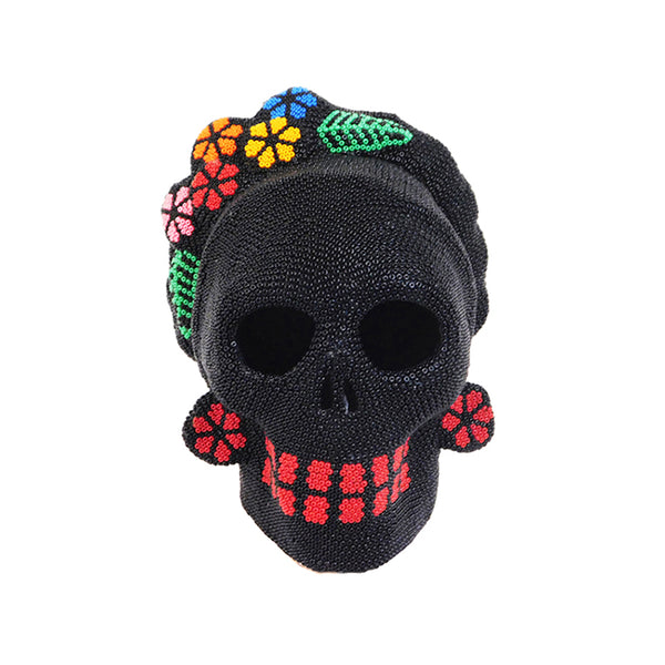 Huichol Frida Skull with Color Flowers