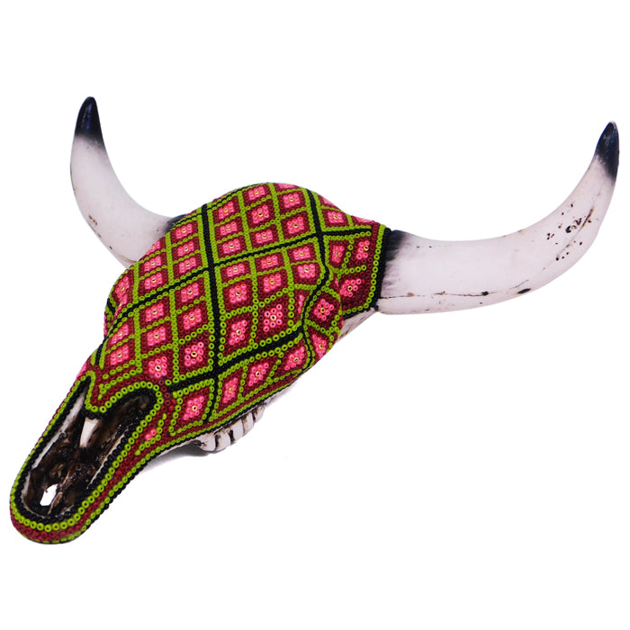 Huichol: Diamonds Wall Hanging Bull Skull