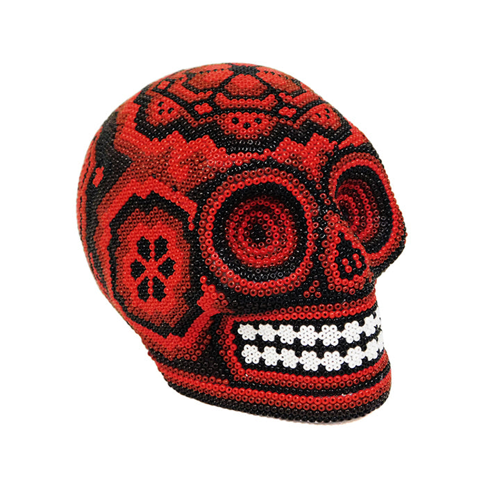 Huichol: Contemporary Red Day of the Dead Skull
