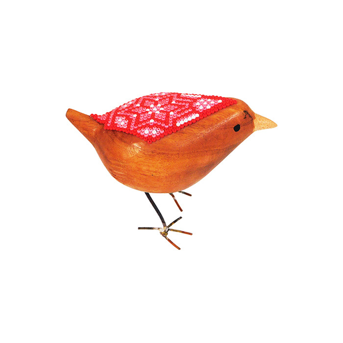 Huichol Little Ruby Beaded Bird