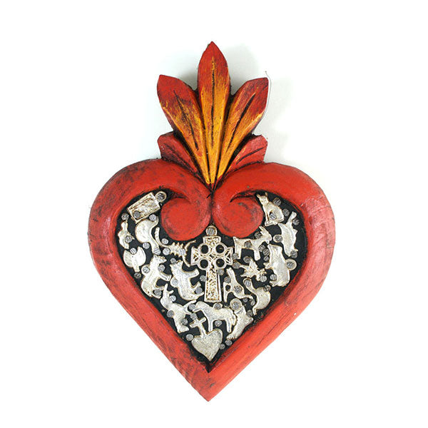 Milagros Heart : Wood Corazon y Milagros