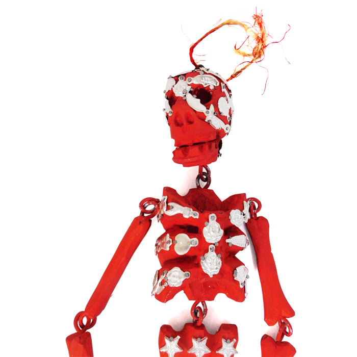 Milagros: Articulated Red Wood  Skeleton
