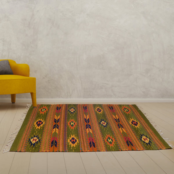 Wool Rug: Green Teotitlan