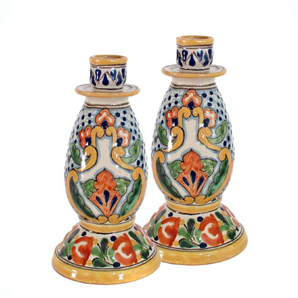 Authentic Talavera Candleholders ~ Pair