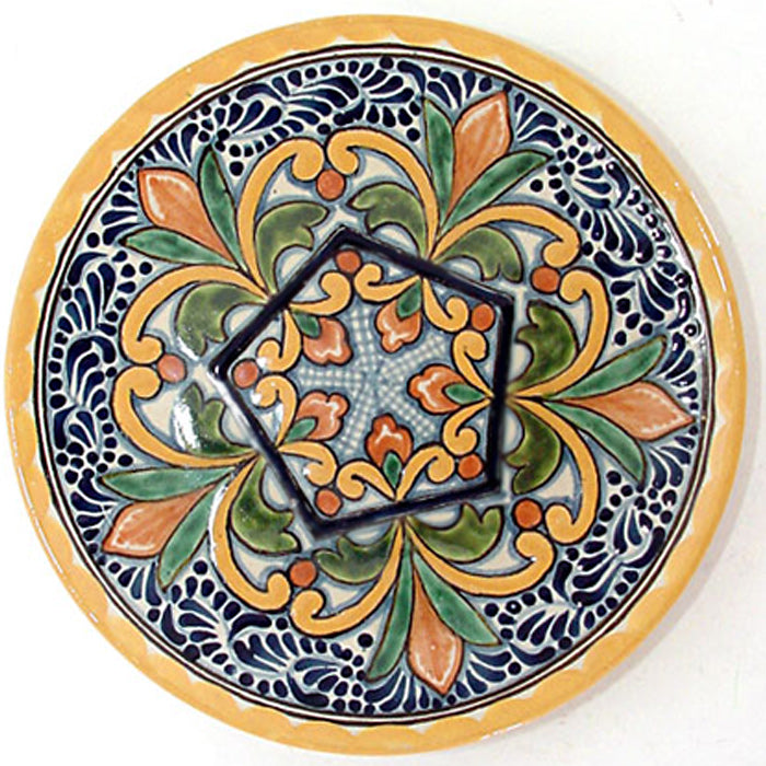 Authentic Tlavera Plate Flowers Geometric Design