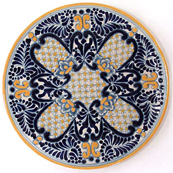Authentic Tlavera Plate Blue Yellow