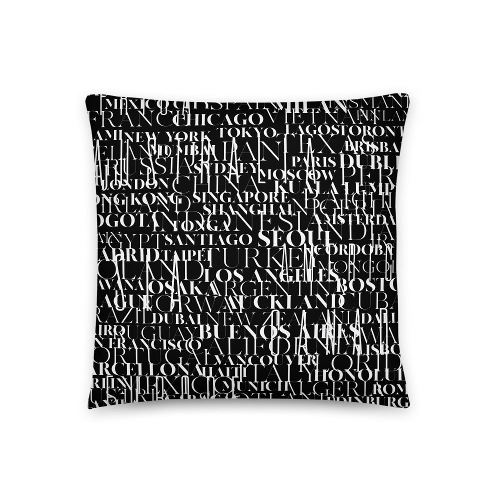 Cities&Countries Pillow Black - Design For Dinner