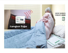 BED EXIT ALARM, PAD & WIRELESS PAGER...NO ALARM IN PATIENT'S ROOM & CARER CARRIES A PAGER
