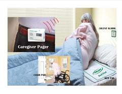 BED EXIT ALARM AND PAGER WITH BOTH BED AND CHAIR PADS (no alarm in patient's room)