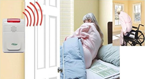 WIRELESS BED & CHAIR ALARM WITH PAGER (complete package) - NO ALARM IN PATIENT'S ROOM -  Wireless bed exit alarm with sensor pads and pager.
