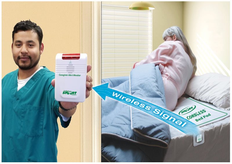 WIRELESS BED ALARM WITH BED PAD & PAGER  -  PAGER IS WITH CARER - NO ALARM NOISE IN PATIENT'S ROOM -  Free Shipping!