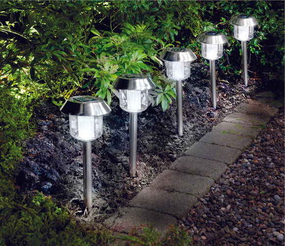 Stainless Steel Solar Lights 5Pk White