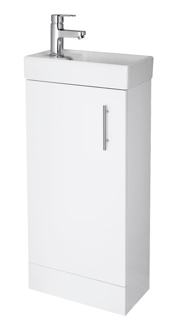 400 FLoor Standing Min Vanity Unit & Basin WHITE