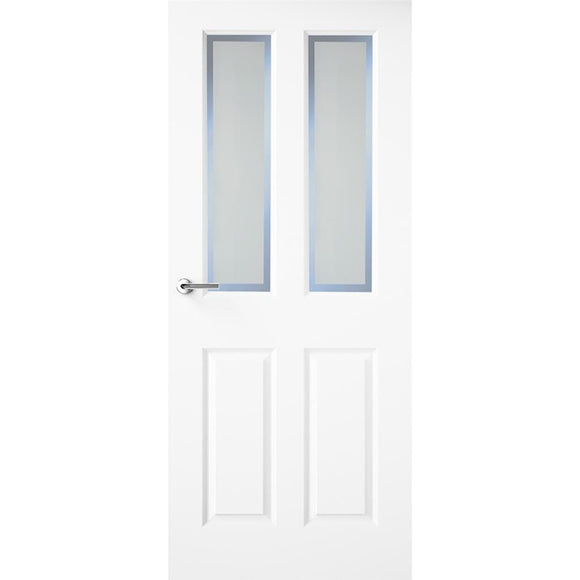 Indoors Hudson White Primed Door Etched Glass 80X32