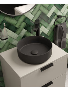 Atelier Round 36cm Vessel Basin with Ceramic Waste - Charcoal Grey