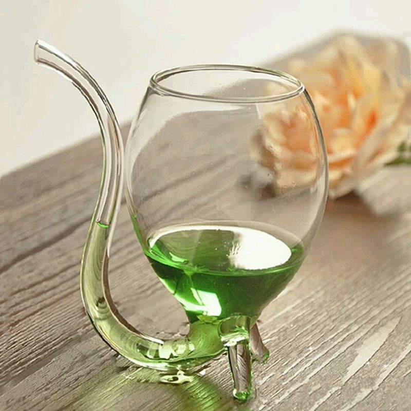 Wine Whiskey Glass With Tube Straw
