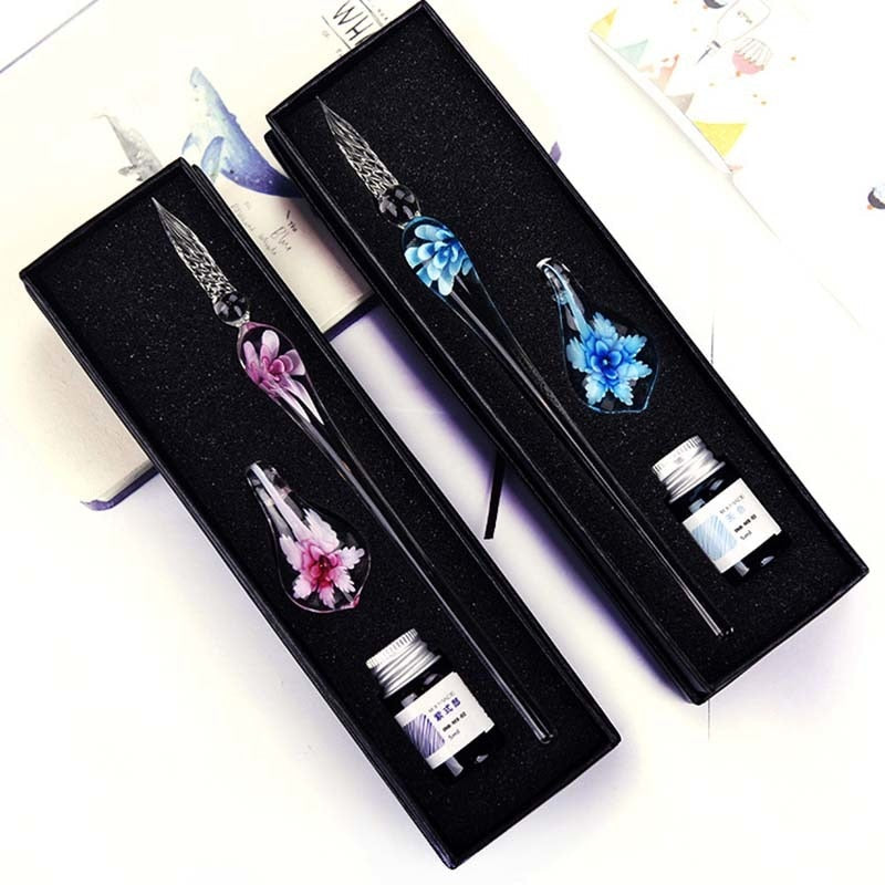 Load image into Gallery viewer, Glass Calligraphy Pen Set with Ink And Pen Reset